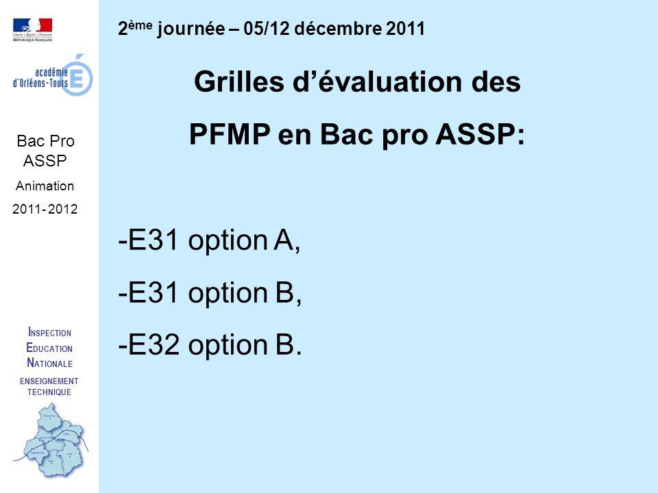 I NSPECTION E DUCATION N ATIONALE ENSEIGNEMENT TECHNIQUE Bac Pro ASSP Animation 2011- 2012 2 ème journée – 05/12 décembre 2011 Grilles dévaluation des