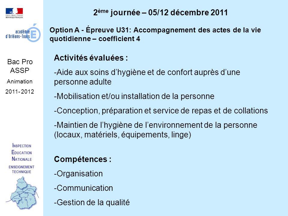 I NSPECTION E DUCATION N ATIONALE ENSEIGNEMENT TECHNIQUE Bac Pro ASSP Animation 2011- 2012 2 ème journée – 05/12 décembre 2011 Option A - Épreuve U31: