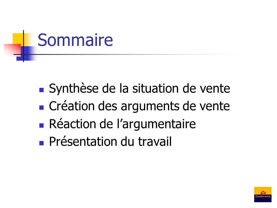 Sommaire Synthèse de la situation de vente Création des arguments de vente Réaction de largumentaire Présentation du travail
