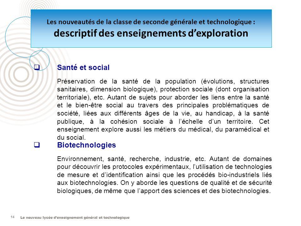 Le nouveau lycée denseignement général et technologique 14 Santé et social Préservation de la santé de la population (évolutions, structures sanitaire