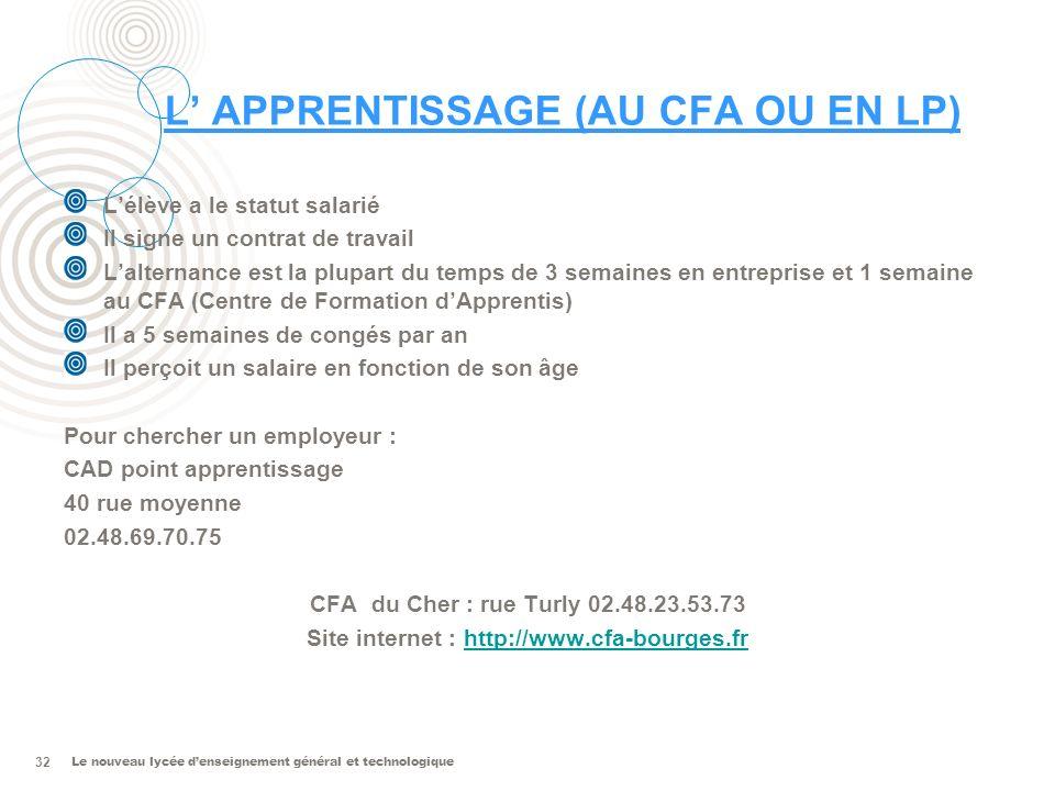 Le nouveau lycée denseignement général et technologique 32 L APPRENTISSAGE (AU CFA OU EN LP) Lélève a le statut salarié Il signe un contrat de travail