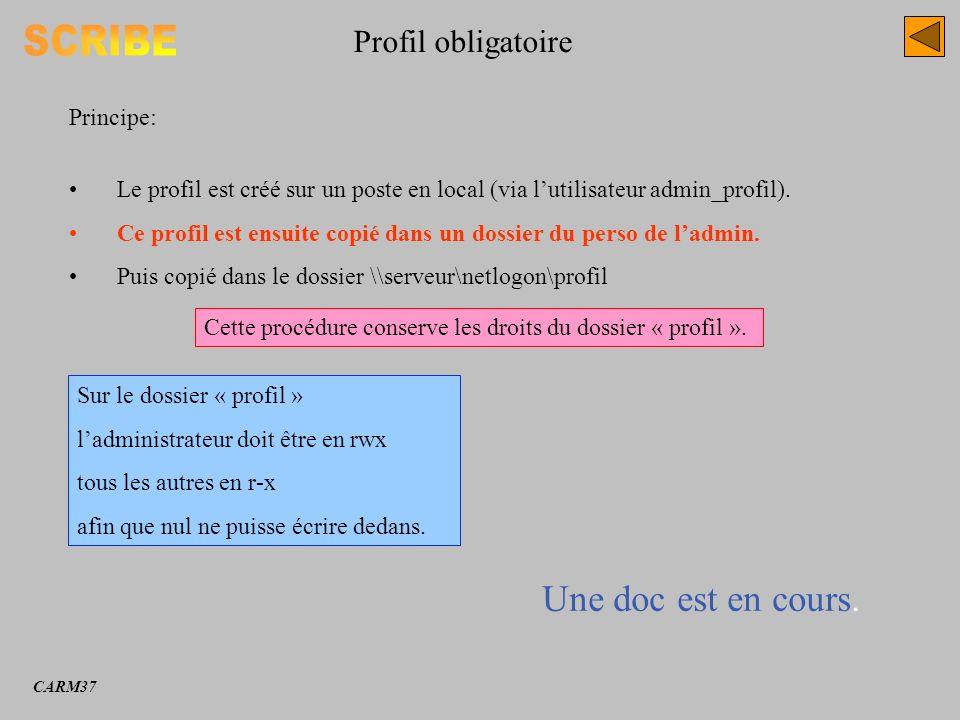 Profil obligatoire Principe: Le profil est créé sur un poste en local (via lutilisateur admin_profil). Ce profil est ensuite copié dans un dossier du