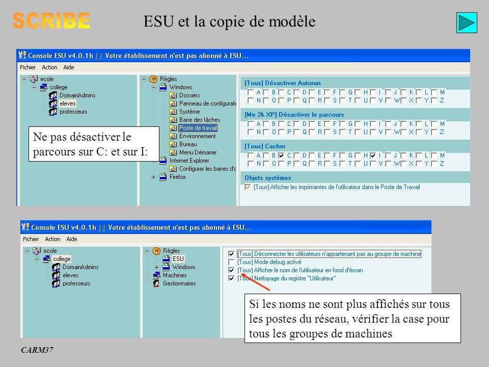ESU et la copie de modèle Ne pas désactiver le parcours sur C: et sur I: Si les noms ne sont plus affichés sur tous les postes du réseau, vérifier la