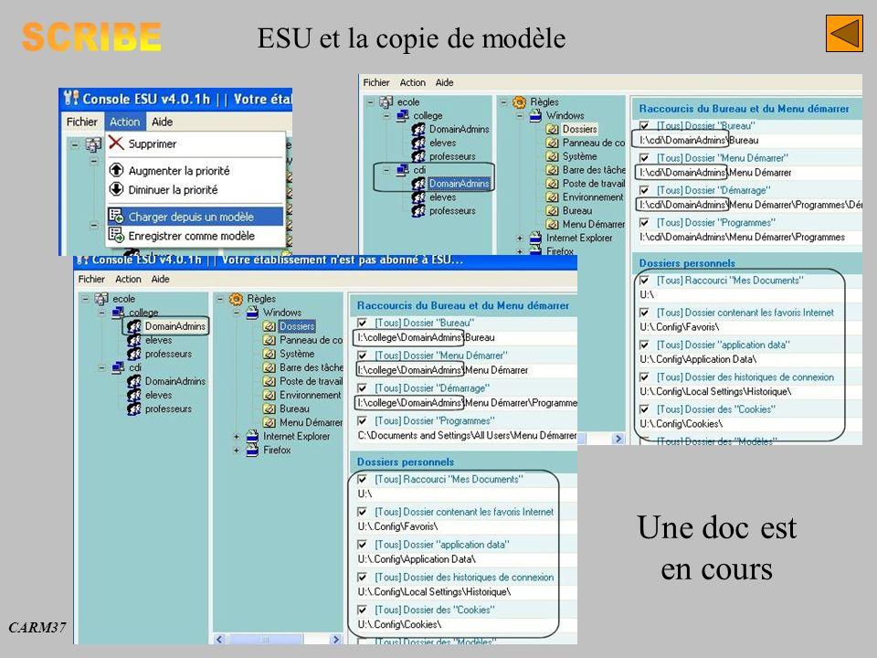 ESU et la copie de modèle CARM37 Une doc est en cours