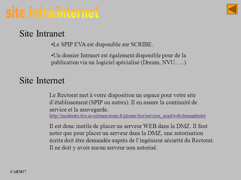 Site Intranet Site Internet Le SPIP EVA est disponible sur SCRIBE. Un dossier Intranet est également disponible pour de la publication via un logiciel