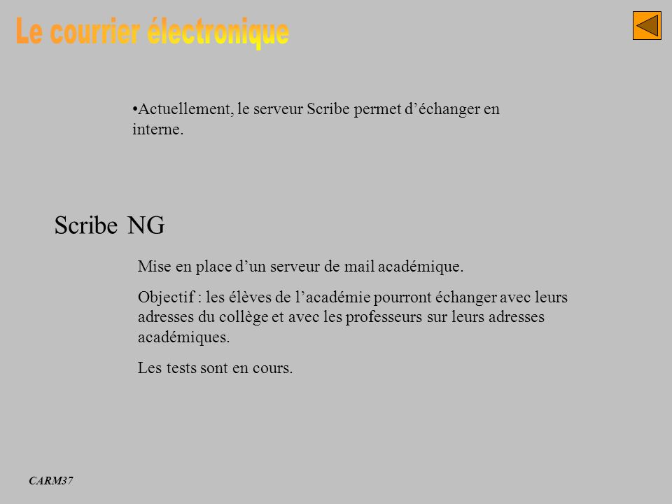 Scribe NG Actuellement, le serveur Scribe permet déchanger en interne. Mise en place dun serveur de mail académique. Objectif : les élèves de lacadémi