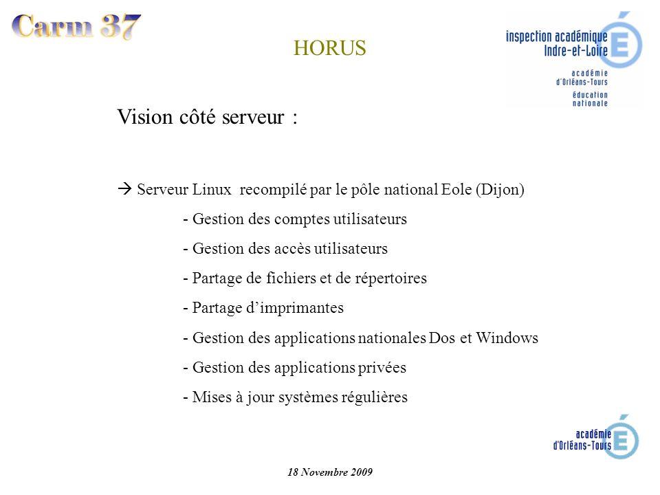 Vision côté serveur : Serveur Linux recompilé par le pôle national Eole (Dijon) - Gestion des comptes utilisateurs - Gestion des accès utilisateurs -