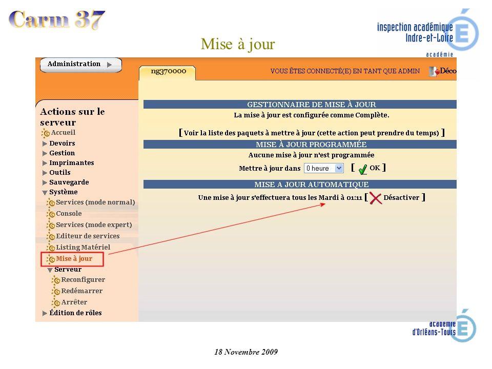 18 Novembre 2009 Mise à jour