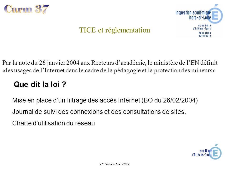 Que dit la loi ? Mise en place dun filtrage des accès Internet (BO du 26/02/2004) Journal de suivi des connexions et des consultations de sites. Chart