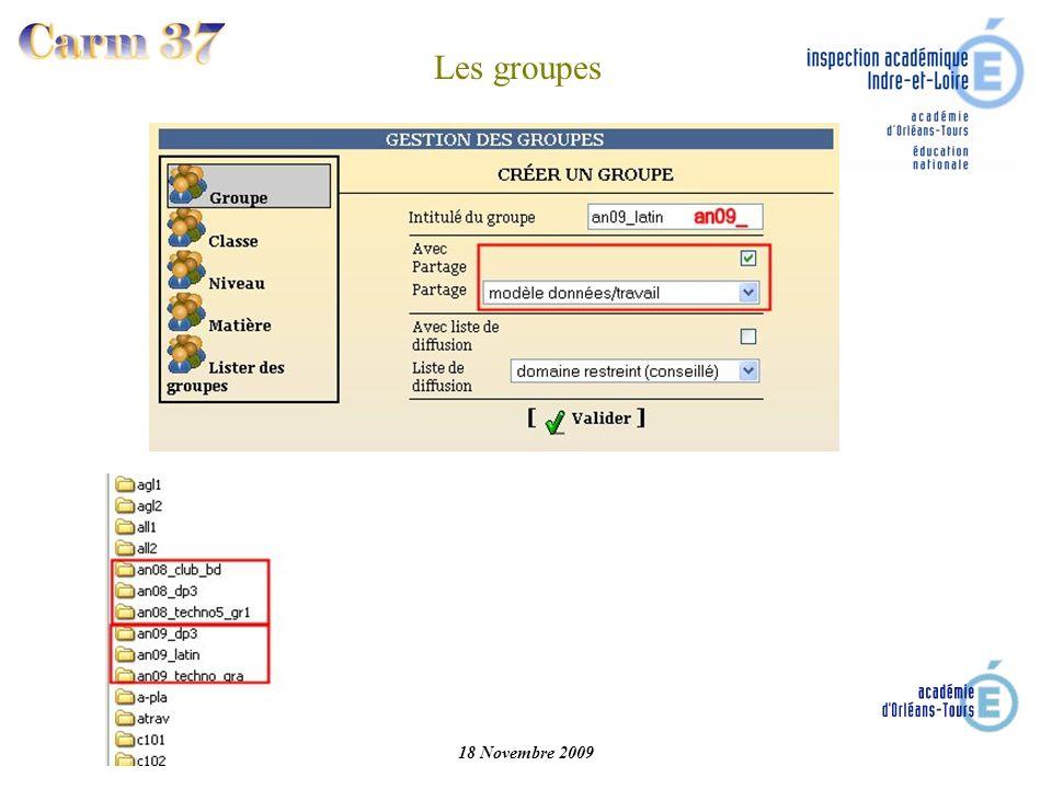 Les groupes 18 Novembre 2009