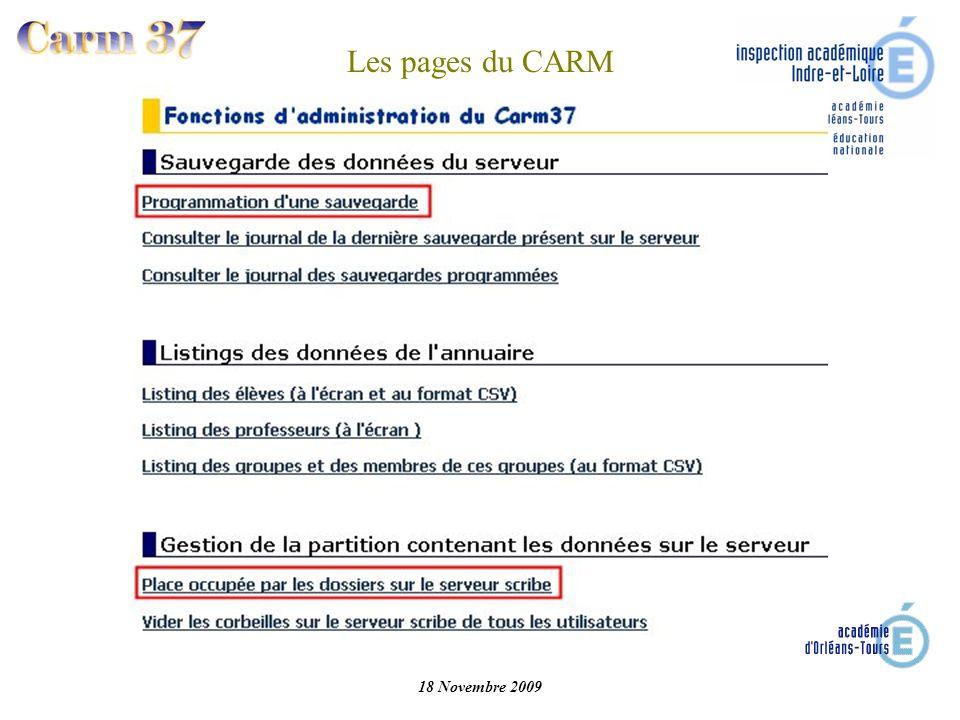 18 Novembre 2009 Les pages du CARM