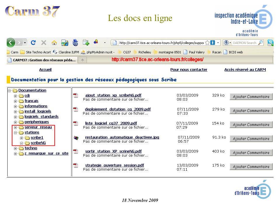 18 Novembre 2009 Les docs en ligne