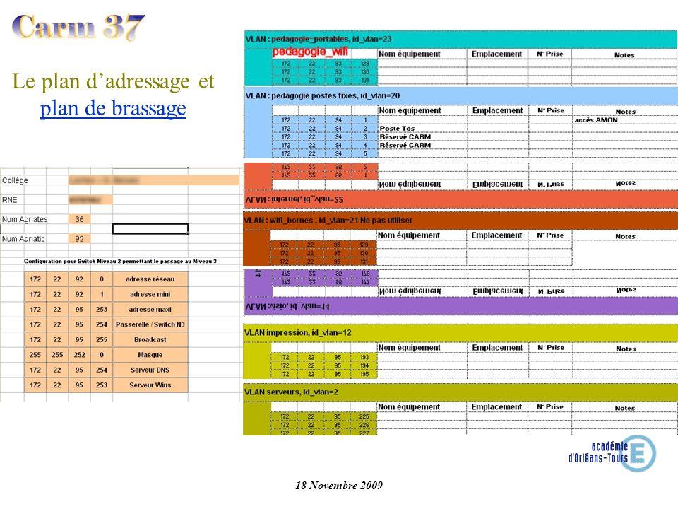 18 Novembre 2009 Plan de brassage IPT Baie A.03 IPT A.04 IPT Pour permettre un bon suivi du réseau et une aide au diagnostic, il est indispensable que le plan de brassage soit à jour et affiché dans la baie.