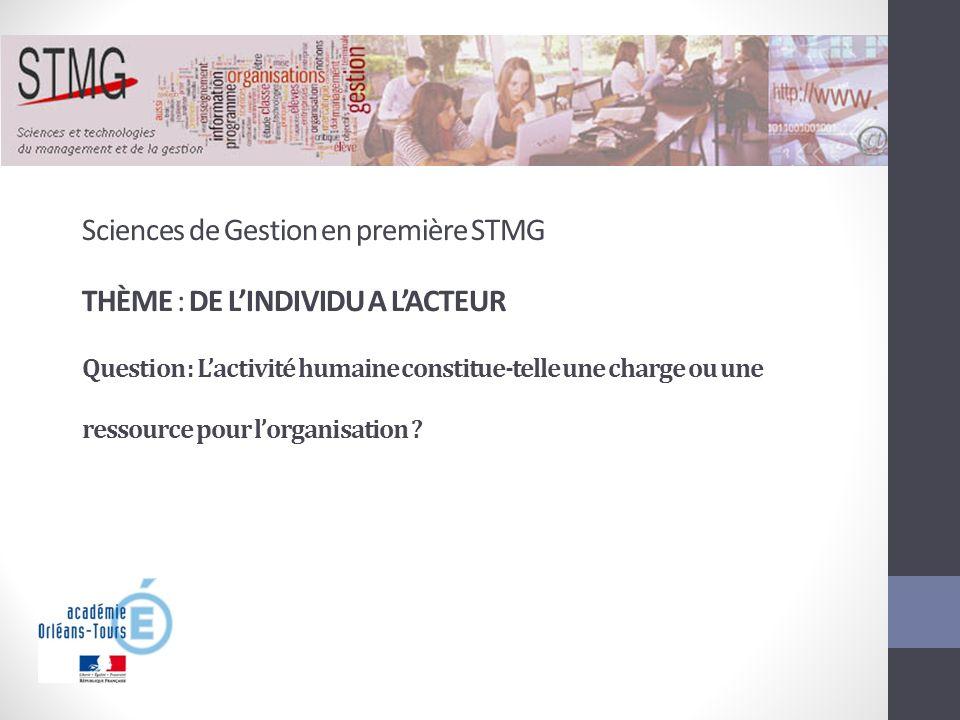Sciences de Gestion en première STMG THÈME : DE LINDIVIDU A LACTEUR Question : Lactivité humaine constitue-telle une charge ou une ressource pour lorg