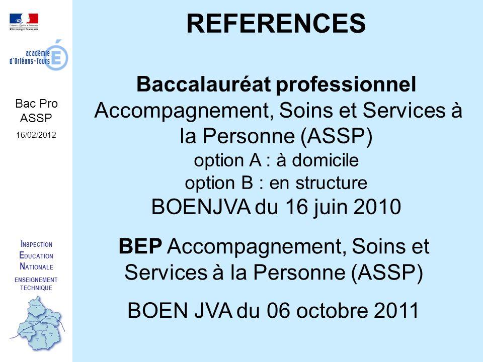 I NSPECTION E DUCATION N ATIONALE ENSEIGNEMENT TECHNIQUE REFERENCES Baccalauréat professionnel Accompagnement, Soins et Services à la Personne (ASSP)