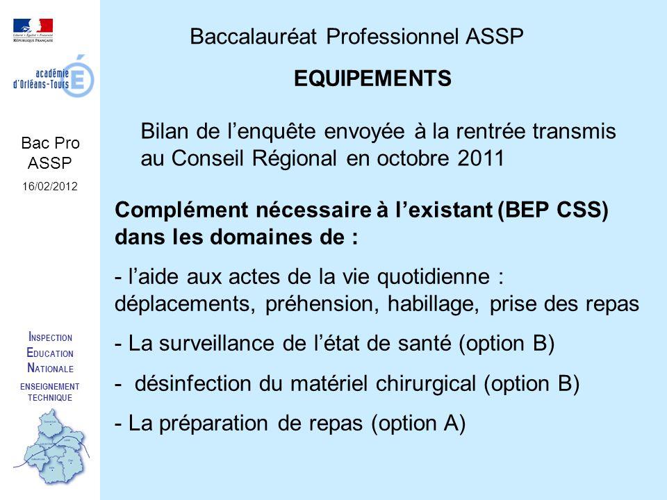 I NSPECTION E DUCATION N ATIONALE ENSEIGNEMENT TECHNIQUE Baccalauréat Professionnel ASSP Bac Pro ASSP 16/02/2012 EQUIPEMENTS Bilan de lenquête envoyée