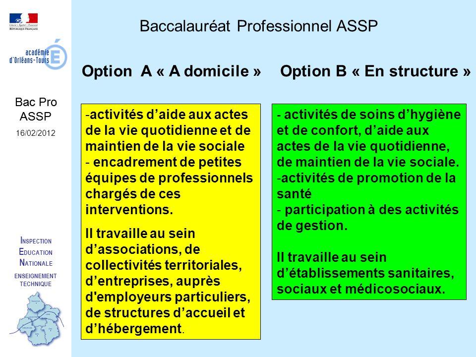 I NSPECTION E DUCATION N ATIONALE ENSEIGNEMENT TECHNIQUE Baccalauréat Professionnel ASSP Option A « A domicile »Option B « En structure » Les activités sont davantage tournées vers la vie quotidienne à domicile, secteur qui tend à se développer.