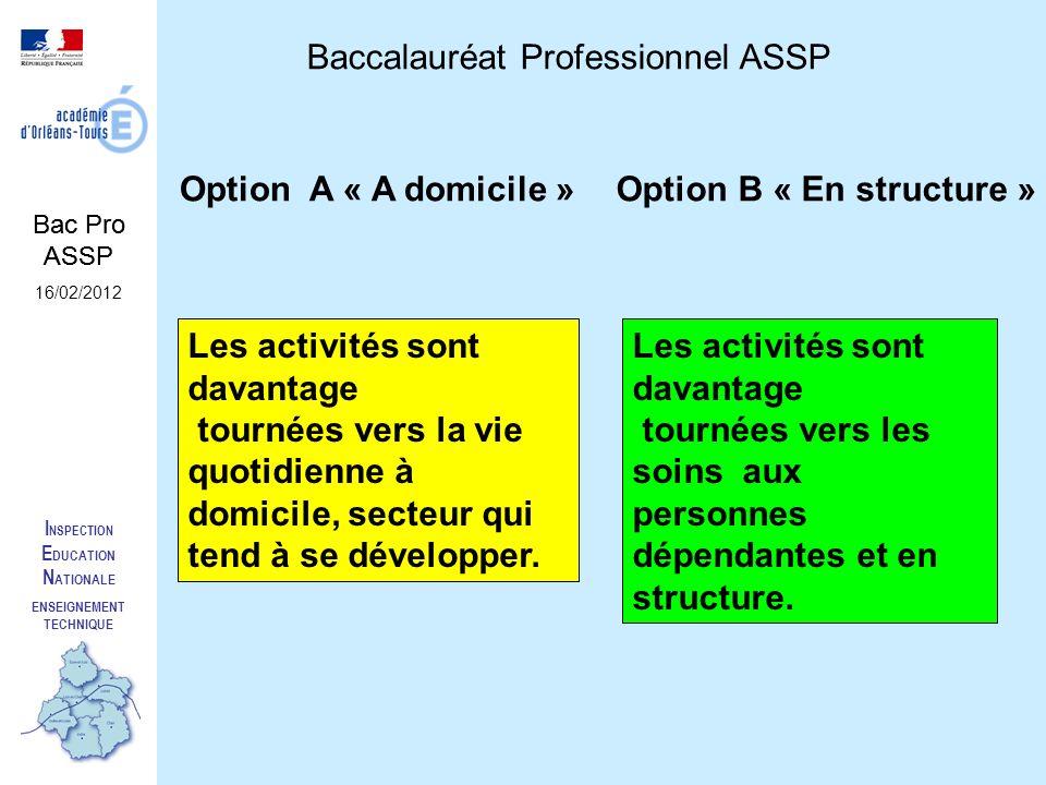 I NSPECTION E DUCATION N ATIONALE ENSEIGNEMENT TECHNIQUE Baccalauréat Professionnel ASSP Option A « A domicile »Option B « En structure » Les activité