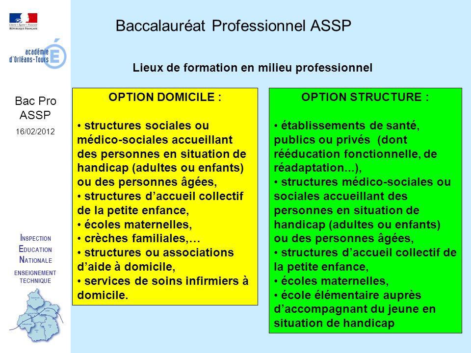 I NSPECTION E DUCATION N ATIONALE ENSEIGNEMENT TECHNIQUE Baccalauréat Professionnel ASSP Bac Pro ASSP 16/02/2012 Lieux de formation en milieu professi