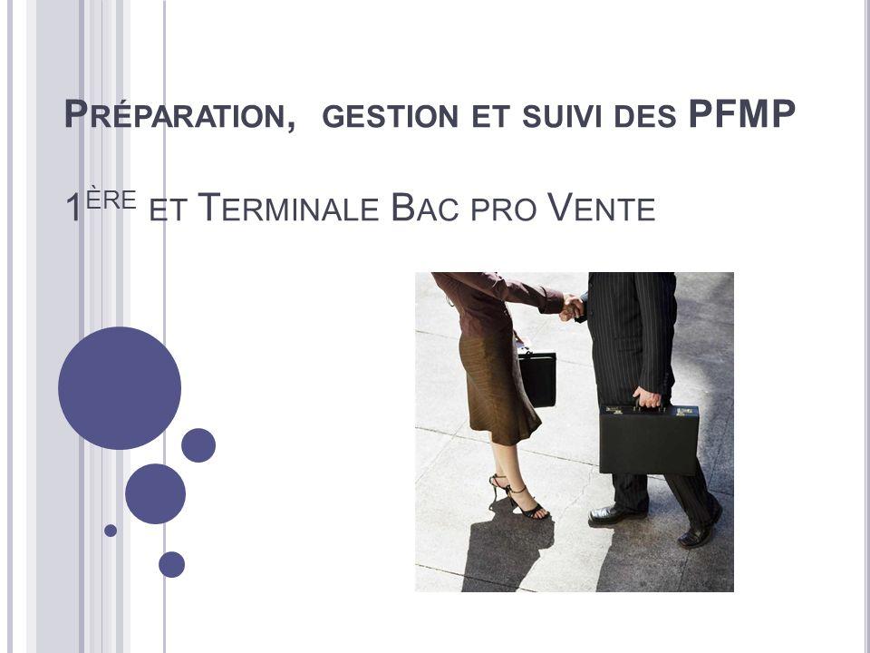 P RÉPARATION, GESTION ET SUIVI DES PFMP 1 ÈRE ET T ERMINALE B AC PRO V ENTE