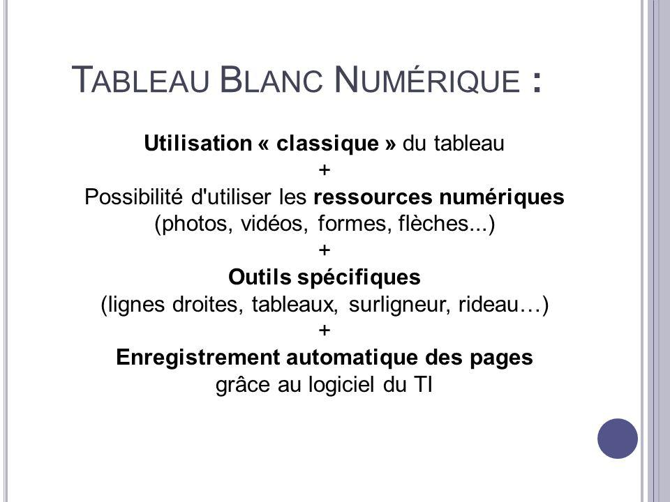 T ABLEAU B LANC N UMÉRIQUE : Utilisation « classique » du tableau + Possibilité d'utiliser les ressources numériques (photos, vidéos, formes, flèches.