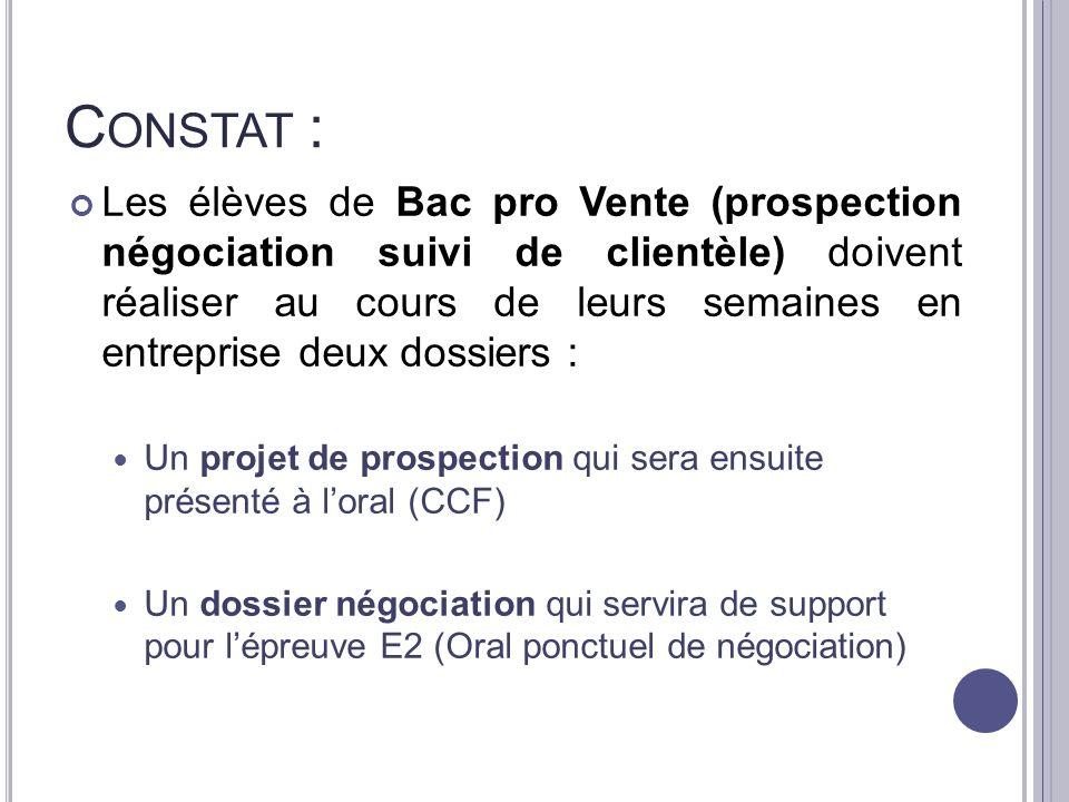 C ONSTAT : Les élèves de Bac pro Vente (prospection négociation suivi de clientèle) doivent réaliser au cours de leurs semaines en entreprise deux dos