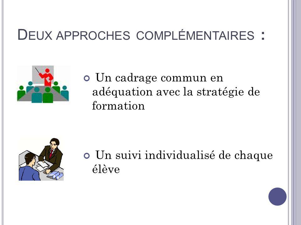 D EUX APPROCHES COMPLÉMENTAIRES : Un cadrage commun en adéquation avec la stratégie de formation Un suivi individualisé de chaque élève