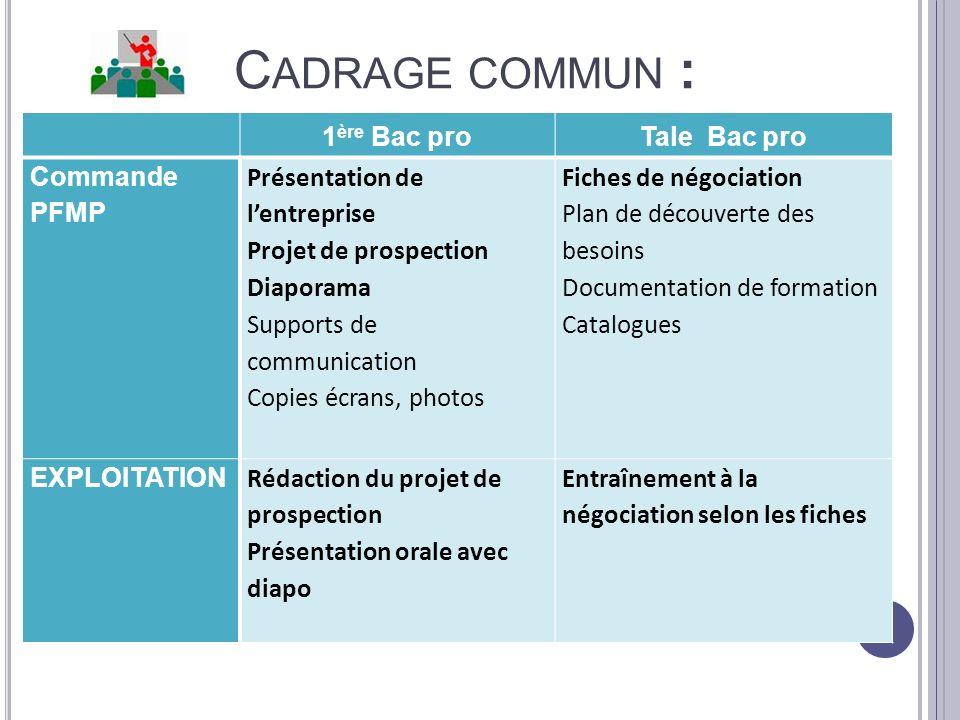 C ADRAGE COMMUN : 1 ère Bac proTale Bac pro Commande PFMP Présentation de lentreprise Projet de prospection Diaporama Supports de communication Copies