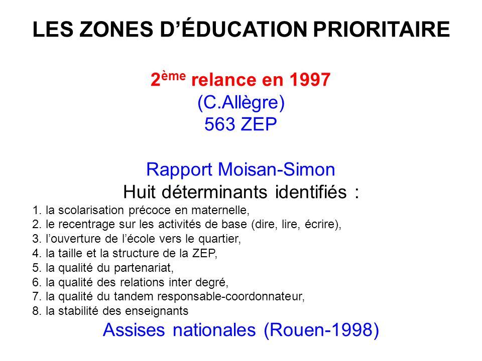 LES ZONES DÉDUCATION PRIORITAIRE 2 ème relance en 1997 (C.Allègre) 563 ZEP Rapport Moisan-Simon Huit déterminants identifiés : 1.