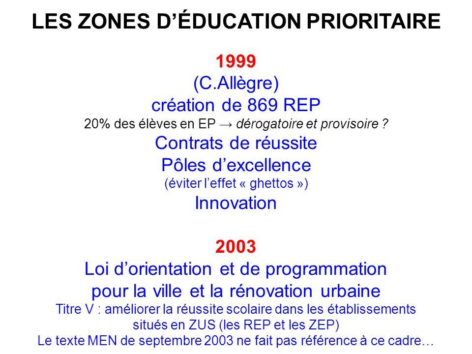 LES ZONES DÉDUCATION PRIORITAIRE 1999 (C.Allègre) création de 869 REP 20% des élèves en EP dérogatoire et provisoire .