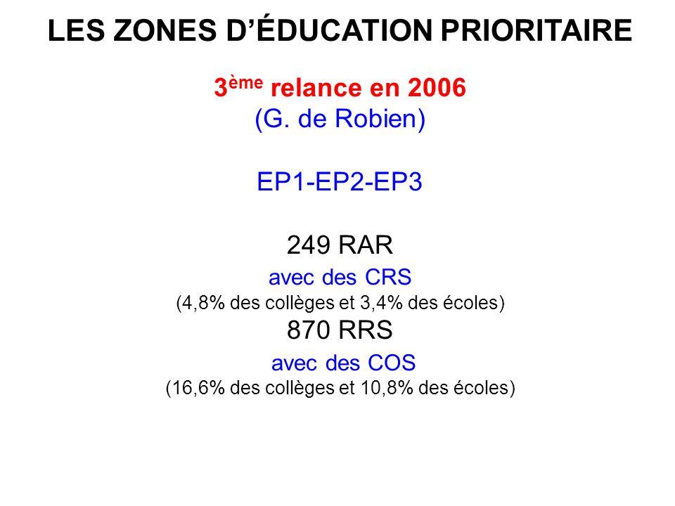 LES ZONES DÉDUCATION PRIORITAIRE 3 ème relance en 2006 (G.