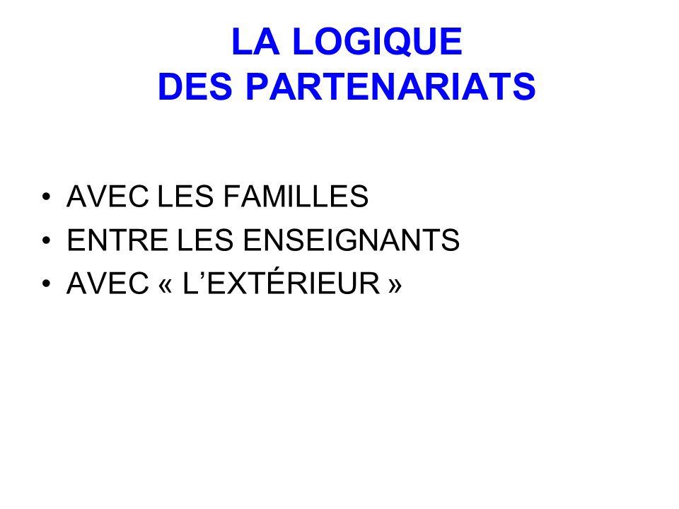 LA LOGIQUE DES PARTENARIATS AVEC LES FAMILLES ENTRE LES ENSEIGNANTS AVEC « LEXTÉRIEUR »