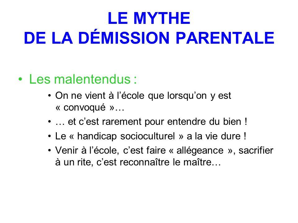 LE MYTHE DE LA DÉMISSION PARENTALE Les malentendus : On ne vient à lécole que lorsquon y est « convoqué »… … et cest rarement pour entendre du bien .
