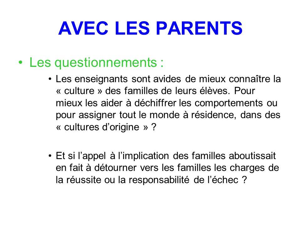 AVEC LES PARENTS Les questionnements : Les enseignants sont avides de mieux connaître la « culture » des familles de leurs élèves.