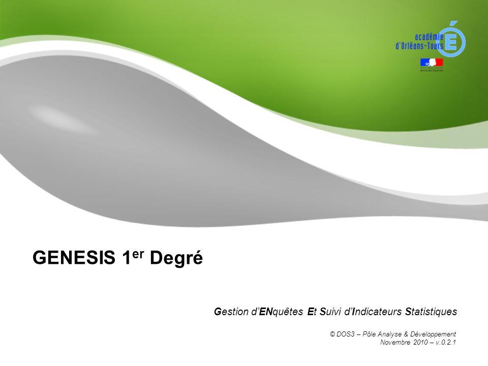GENESIS 1 er Degré Gestion dENquêtes Et Suivi dIndicateurs Statistiques © DOS3 – Pôle Analyse & Développement Novembre 2010 – v.0.2.1
