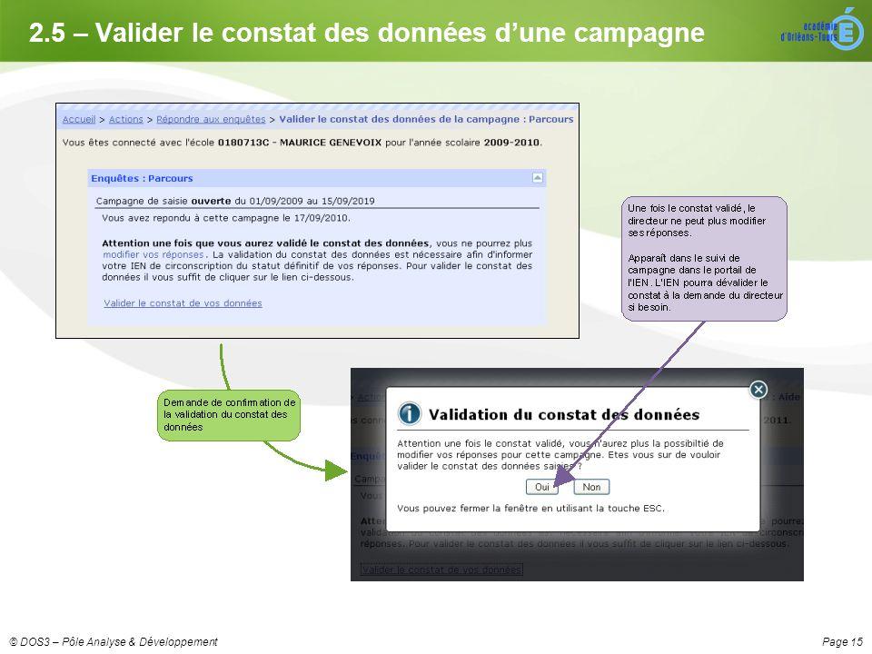 Page 15© DOS3 – Pôle Analyse & Développement 2.5 – Valider le constat des données dune campagne