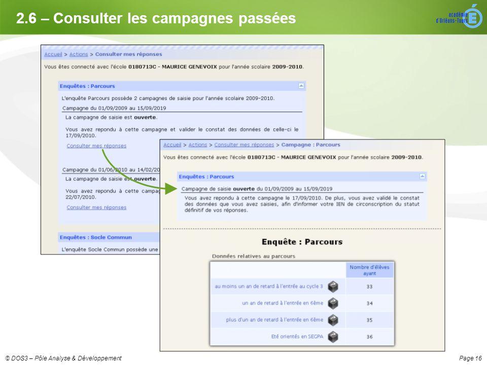 Page 16© DOS3 – Pôle Analyse & Développement 2.6 – Consulter les campagnes passées