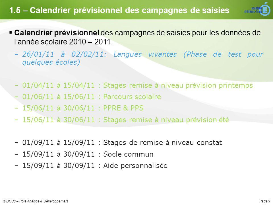Page 9© DOS3 – Pôle Analyse & Développement 1.5 – Calendrier prévisionnel des campagnes de saisies Calendrier prévisionnel des campagnes de saisies pour les données de lannée scolaire 2010 – 2011.