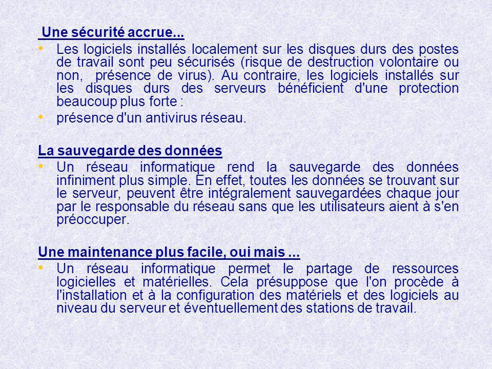 Une sécurité accrue... Les logiciels installés localement sur les disques durs des postes de travail sont peu sécurisés (risque de destruction volonta