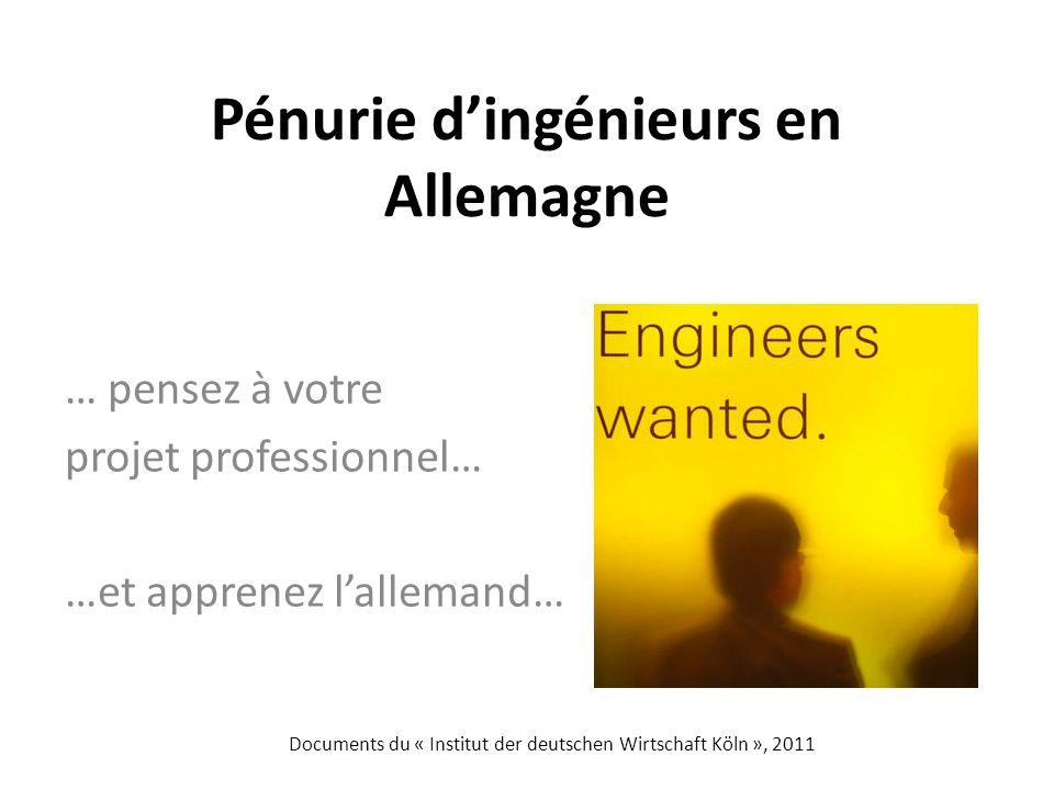 Pénurie dingénieurs en Allemagne … pensez à votre projet professionnel… …et apprenez lallemand… Documents du « Institut der deutschen Wirtschaft Köln », 2011