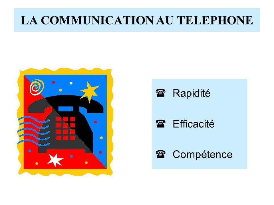 LA COMMUNICATION AU TELEPHONE Rapidité Efficacité Compétence
