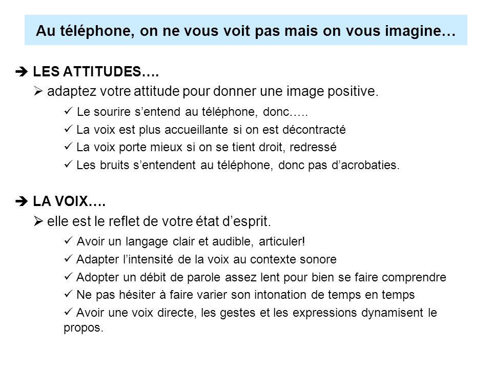 Au téléphone, on ne vous voit pas mais on vous imagine… LES ATTITUDES…. adaptez votre attitude pour donner une image positive. Le sourire sentend au t