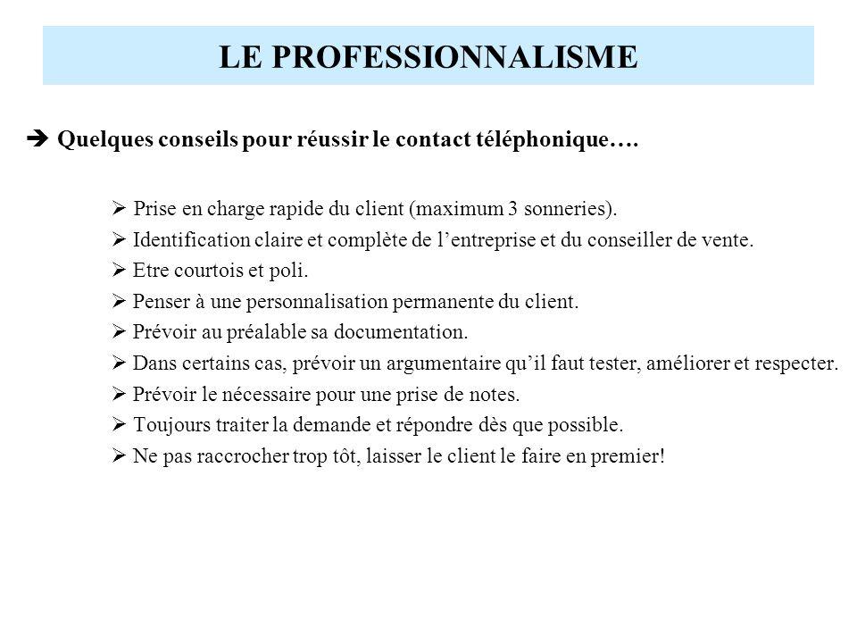 LE PROFESSIONNALISME Quelques conseils pour réussir le contact téléphonique…. Prise en charge rapide du client (maximum 3 sonneries). Identification c