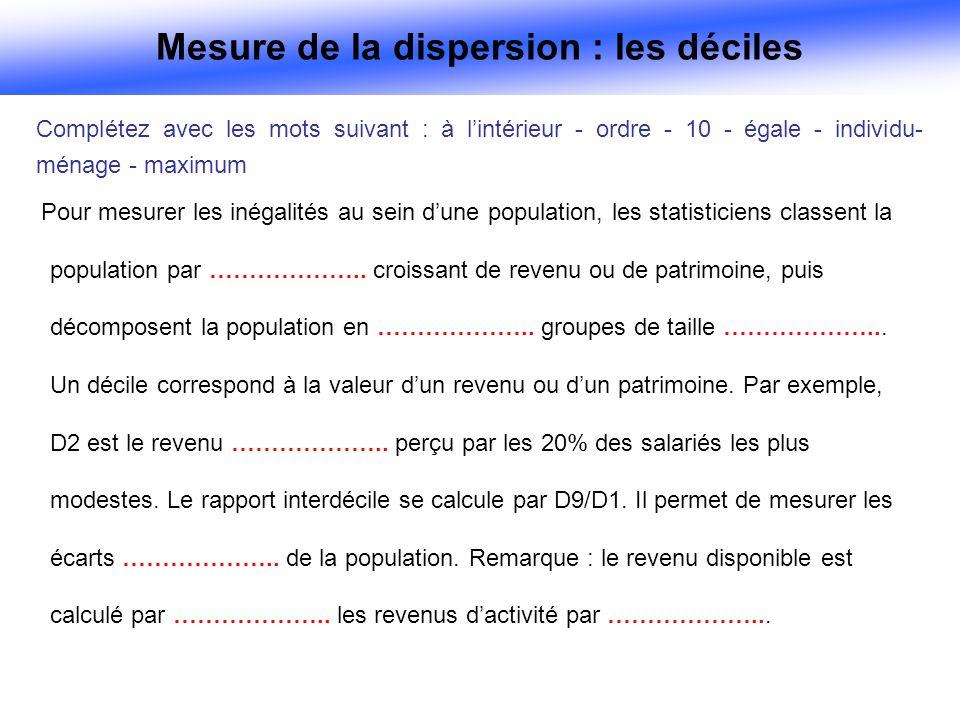 Pour mesurer les inégalités au sein dune population, les statisticiens classent la population par ………………..