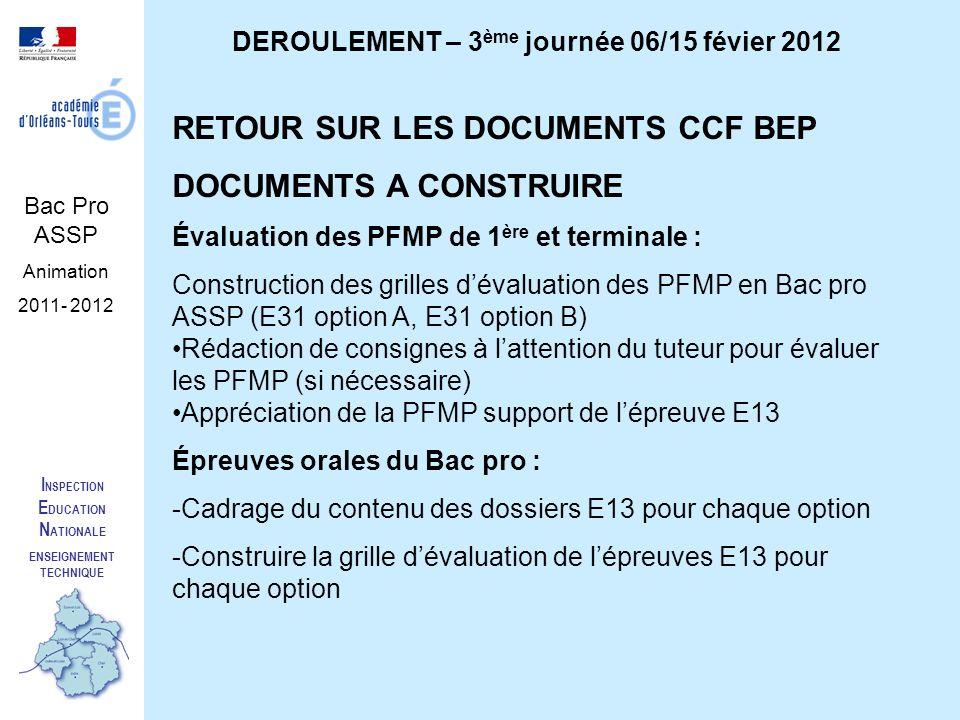 I NSPECTION E DUCATION N ATIONALE ENSEIGNEMENT TECHNIQUE Bac Pro ASSP Animation 2011- 2012 DEROULEMENT – 3 ème journée 06/15 févier 2012 RETOUR SUR LES DOCUMENTS CCF BEP DOCUMENTS A CONSTRUIRE Évaluation des PFMP de 1 ère et terminale : Construction des grilles dévaluation des PFMP en Bac pro ASSP (E31 option A, E31 option B) Rédaction de consignes à lattention du tuteur pour évaluer les PFMP (si nécessaire) Appréciation de la PFMP support de lépreuve E13 Épreuves orales du Bac pro : -Cadrage du contenu des dossiers E13 pour chaque option -Construire la grille dévaluation de lépreuves E13 pour chaque option