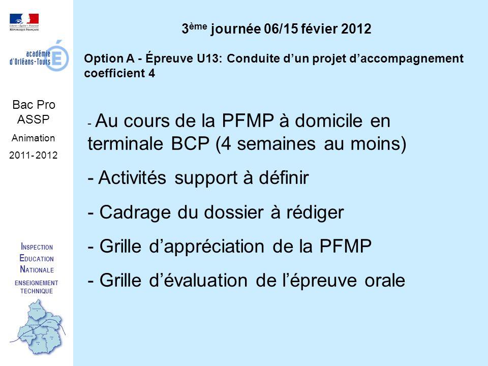 I NSPECTION E DUCATION N ATIONALE ENSEIGNEMENT TECHNIQUE Bac Pro ASSP Animation 2011- 2012 Option A - Épreuve U13: Conduite dun projet daccompagnement