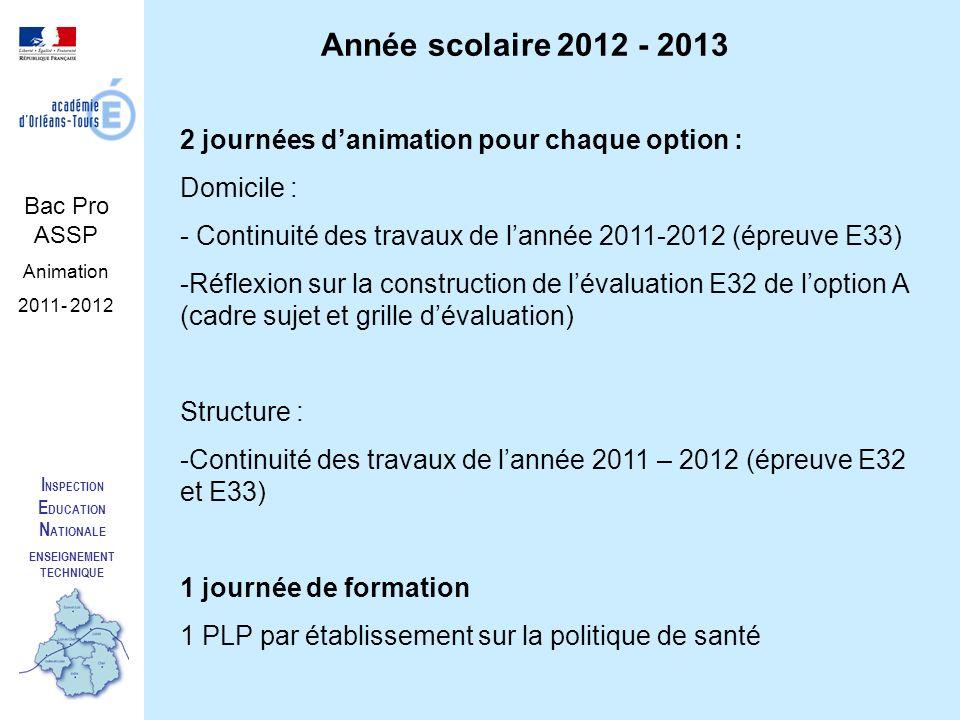 I NSPECTION E DUCATION N ATIONALE ENSEIGNEMENT TECHNIQUE Bac Pro ASSP Animation 2011- 2012 Année scolaire 2012 - 2013 2 journées danimation pour chaqu