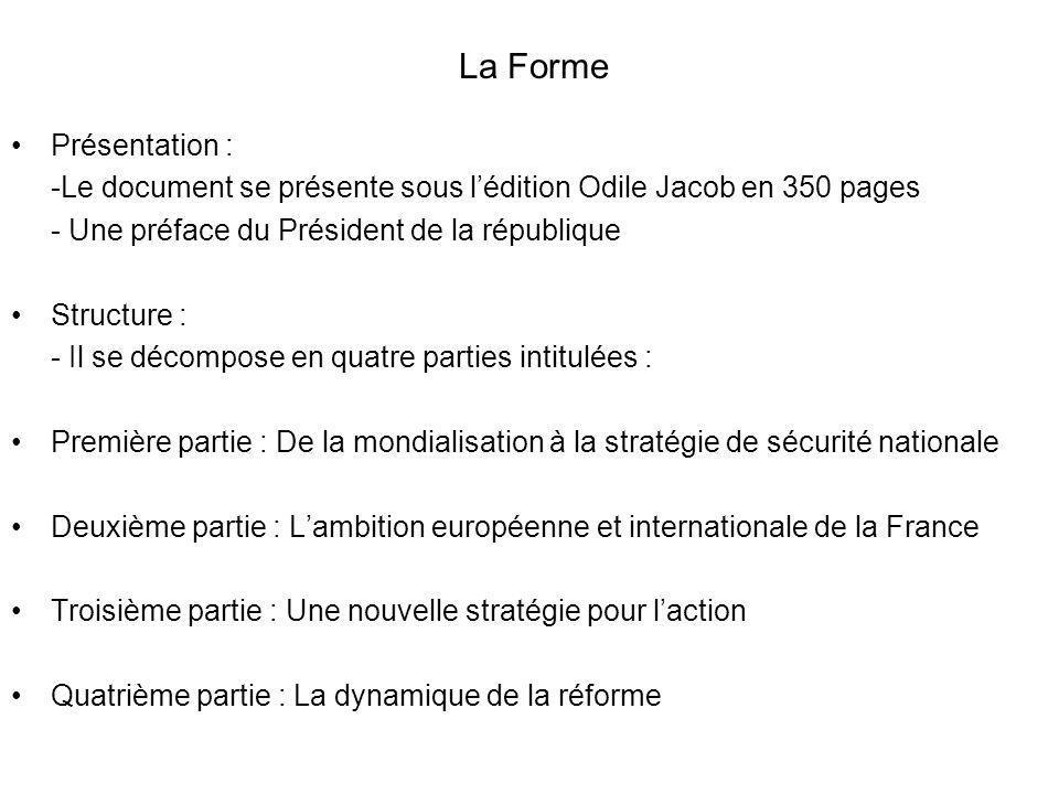 Présentation : -Le document se présente sous lédition Odile Jacob en 350 pages - Une préface du Président de la république Structure : - Il se décompo