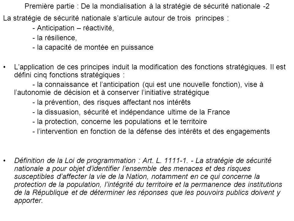 La stratégie de sécurité nationale sarticule autour de trois principes : - Anticipation – réactivité, - la résilience, - la capacité de montée en puis