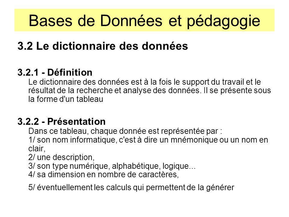 Bases de Données et pédagogie 3.2 Le dictionnaire des données 3.2.1 - Définition Le dictionnaire des données est à la fois le support du travail et le